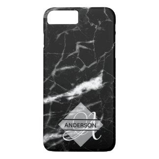 Coque iPhone 8 Plus/7 Plus Noir de marbre décoré d'un monogramme de cas de