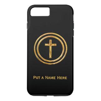 Coque iPhone 8 Plus/7 Plus Noir et modèle nommé croisé d'or