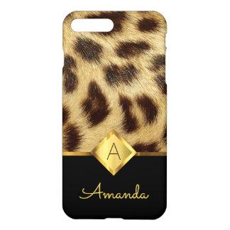 Coque iPhone 8 Plus/7 Plus Noir et or de monogramme de dames de fourrure de
