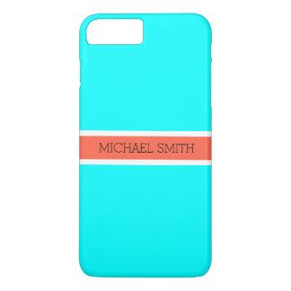 Coque iPhone 8 Plus/7 Plus Nom élégant d'Aqua de ruban moderne solide de