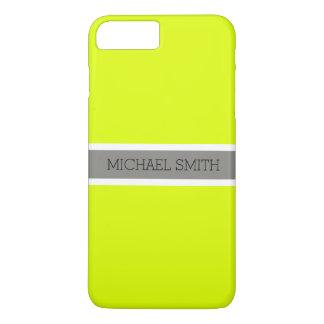 Coque iPhone 8 Plus/7 Plus Nom élégant de ruban gris moderne Chartreuse