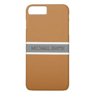 Coque iPhone 8 Plus/7 Plus Nom élégant de ruban gris moderne de cuivre solide