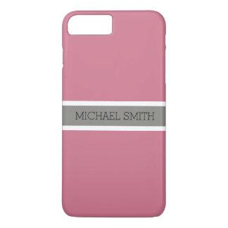 Coque iPhone 8 Plus/7 Plus Nom élégant de ruban gris moderne solide de charme
