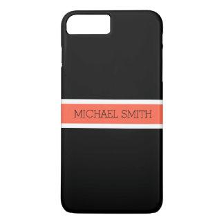 Coque iPhone 8 Plus/7 Plus Nom élégant de ruban moderne noir solide de tomate