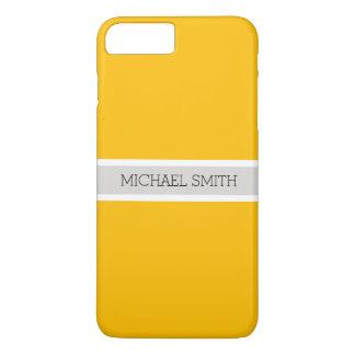 Coque iPhone 8 Plus/7 Plus Nom élégant moderne d'arrière - plan ambre simple
