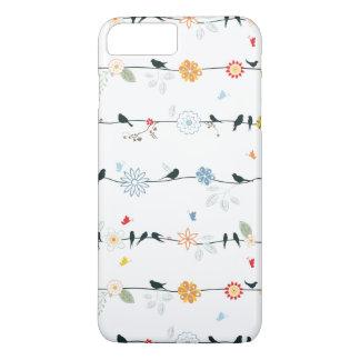 Coque iPhone 8 Plus/7 Plus Oiseaux féminins sur un fil et des fleurs