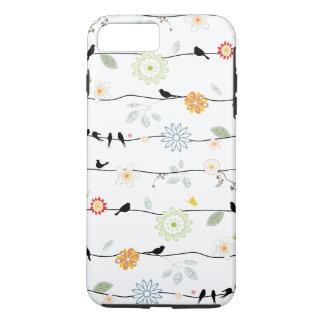 Coque iPhone 8 Plus/7 Plus Oiseaux sur des vignes avec des fleurs