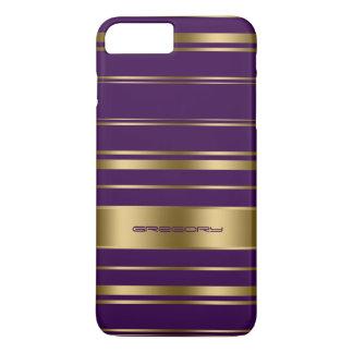 Coque iPhone 8 Plus/7 Plus Or de Monogramed et motif pourpre de rayures