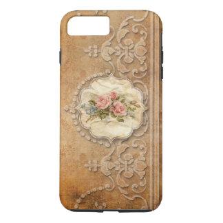 Coque iPhone 8 Plus/7 Plus Or de relief par cru Scrollwork et roses