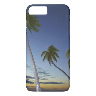 Coque iPhone 8 Plus/7 Plus Palmiers et coucher du soleil, île-hôtel de