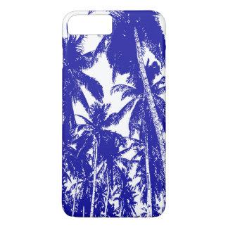 Coque iPhone 8 Plus/7 Plus Palmiers tropicaux dans bleu et blanc