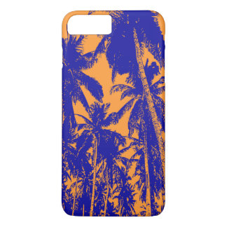 Coque iPhone 8 Plus/7 Plus Palmiers tropicaux dans bleu et orange