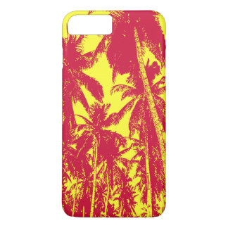 Coque iPhone 8 Plus/7 Plus Palmiers tropicaux en rouge et le jaune