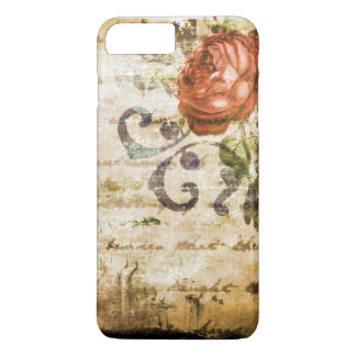 Coque iPhone 8 Plus/7 Plus Parchemin rose de jolie sépia victorienne vintage