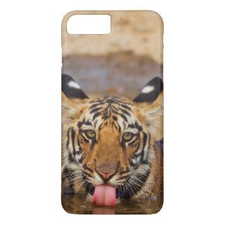 Coque iPhone 8 Plus/7 Plus Petit animal de tigre royal de Bengale, eau
