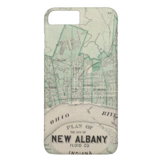 Coque iPhone 8 Plus/7 Plus Plan de la ville de nouvel Albany, Floyd Co,