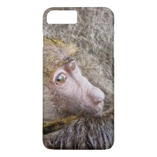 Coque iPhone 8 Plus/7 Plus Portrait d'un babouin olive de bébé (Papio Anubis)