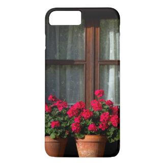 Coque iPhone 8 Plus/7 Plus Pots de fleur de fenêtre dans le village
