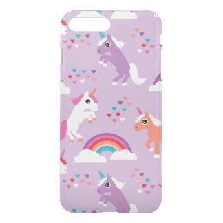 Coque iPhone 8 Plus/7 Plus Pourpre mignon d'arc-en-ciel de licorne
