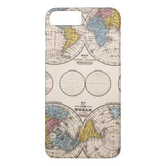 Coque iPhone 8 Plus/7 Plus Projection équatoriale du monde et projection