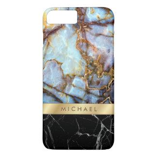 Coque iPhone 8 Plus/7 Plus Rayure de marbre d'or de textures de pierre de
