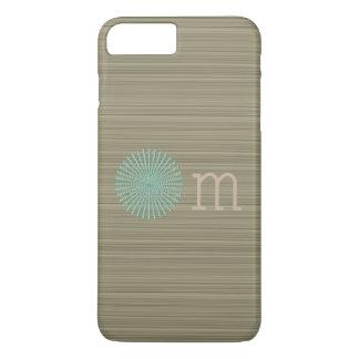 Coque iPhone 8 Plus/7 Plus Rayures de zen de vert olive de turquoise de l'OM