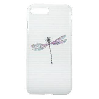 Coque iPhone 8 Plus/7 Plus Rayures mignonnes de cru de libellule d'aquarelle
