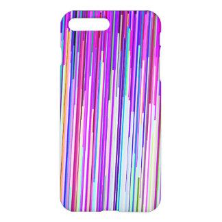 Coque iPhone 8 Plus/7 Plus Rayures pourpres roses au néon abstraites modernes