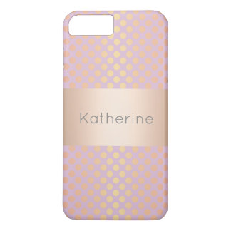 Coque iPhone 8 Plus/7 Plus Rose rose élégant élégant de motif de pois d'or