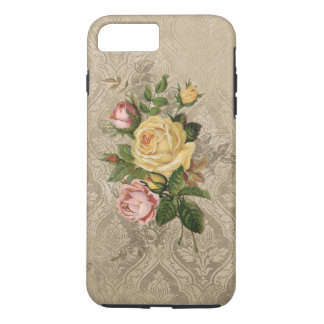 Coque iPhone 8 Plus/7 Plus Roses vintages et damassé d'or