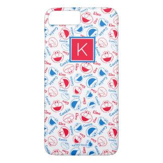 Coque iPhone 8 Plus/7 Plus Rouge et monogramme bleu du motif |