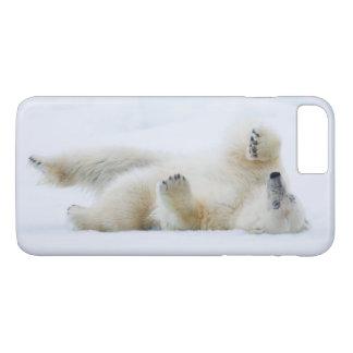 Coque iPhone 8 Plus/7 Plus Roulement d'ours blanc dans la neige, Norvège