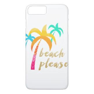 """Coque iPhone 8 Plus/7 Plus scintillement """"plage d'or svp"""" avec les paumes"""