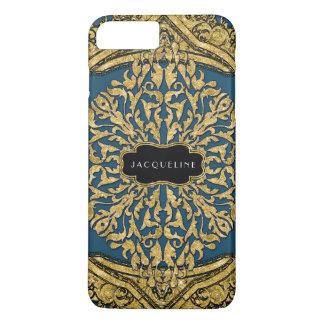 Coque iPhone 8 Plus/7 Plus Sembler marocain de scintillement d'or de rouleau