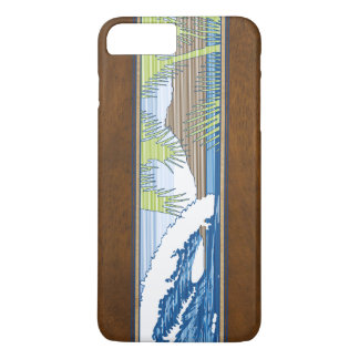 Coque iPhone 8 Plus/7 Plus Signe en bois de surf de Koa de Faux hawaïen de