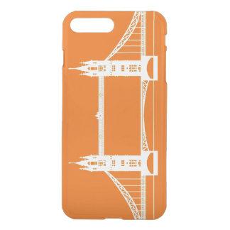 Coque iPhone 8 Plus/7 Plus Silhouette blanche et orange de pont de Londres