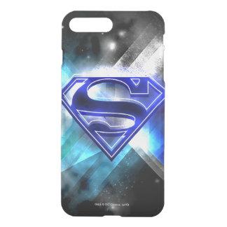 Coque iPhone 8 Plus/7 Plus Superman a stylisé le logo en cristal blanc bleu