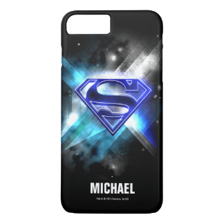 Coque iPhone 8 Plus/7 Plus Superman a stylisé le nom en cristal blanc bleu du