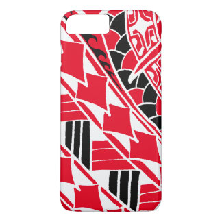 Coque iPhone 8 Plus/7 Plus Tatouage polynésien rouge de LineA