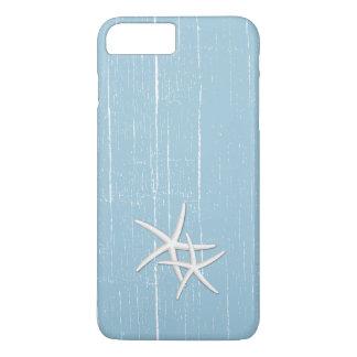 Coque iPhone 8 Plus/7 Plus Thème bleu de plage de menthe rustique d'étoiles