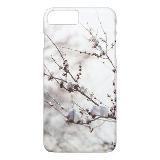 Coque iPhone 8 Plus/7 Plus Thème d'hiver. Les plantes ont couvert l'arrière -