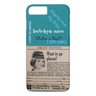 Coque iPhone 8 Plus/7 Plus Turquo vintage de steward (hôtesse de l'air) de