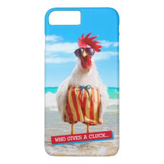 Coque iPhone 8 Plus/7 Plus Type Chillin de coq à la plage dans des troncs de
