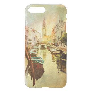 Coque iPhone 8 Plus/7 Plus Une vue du canal avec des bateaux et des bâtiments