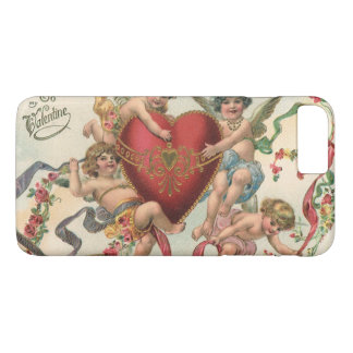Coque iPhone 8 Plus/7 Plus Valentines victoriens vintages, coeur d'anges