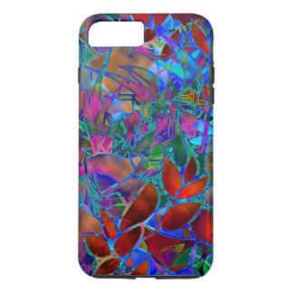 Coque iPhone 8 Plus/7 Plus verre souillé d'abrégé sur floral plus cas de