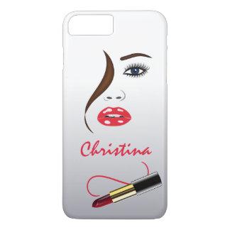 Coque iPhone 8 Plus/7 Plus Visage et rouge à lèvres de maquilleur dans le