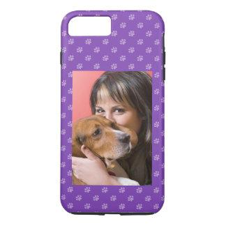 Coque iPhone 8 Plus/7 Plus Votre chien et vous pourpre fait sur commande de