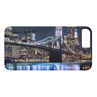 Coque iPhone 8 Plus/7 Plus Vue de la réflexion de pont de Brooklyn de New