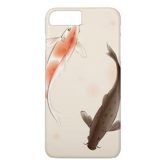 Coque iPhone 8 Plus/7 Plus Yin Yang Koi pêche dans la peinture orientale de